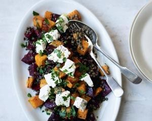 Rachel Allen's sweet potato, beetroot and lentil salad is topped with feta cheese and fresh parsley