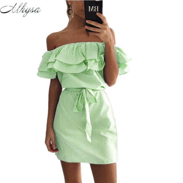 Summer Striped Dresses Sexy Ruffle Dress Casual Style Comfortable Pretty Canonicals Dress with Bell