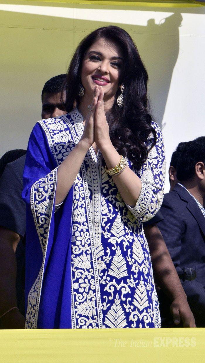 Aishwarya Rai Bachchan at the inauguration of a jewellery showroom in Amritsar.