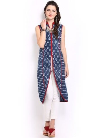 Blue printed panelled kurta