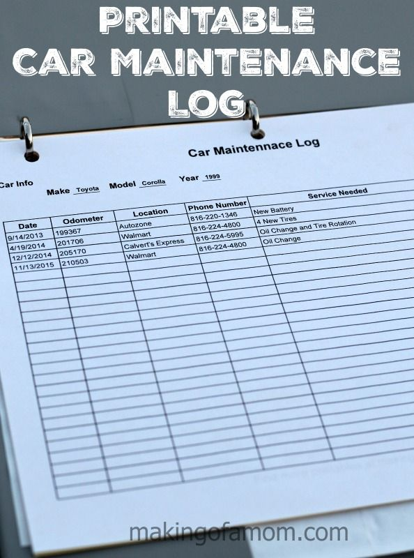 Printable Car Maintenance Log to keep track of repairs, maintenance, purchases and more.