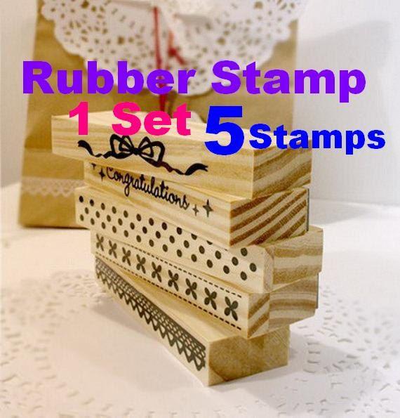 Handmade fancy card Wooden rubber stamp ribbon di StickersKingdom, $7.90