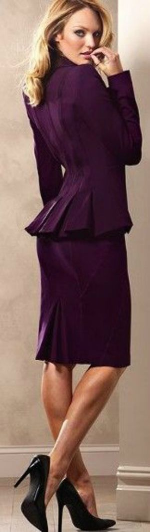 plum colored suit - women's fashion