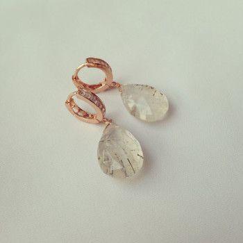 Orecchini quarzo rutilato in argento 925 placcato oro rosa