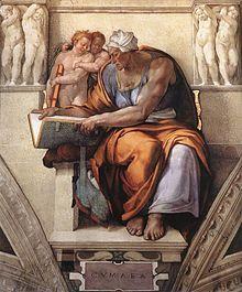 Aeneas consults the Cumaean Sibyl . Michelangelo: La Sibilla Cumana - Sistine Chapel (Rome )