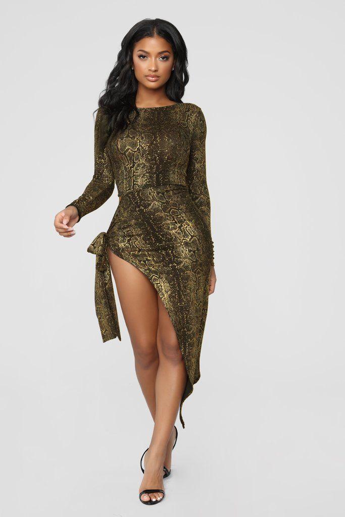 9758d91236c98 I'm Hiss Type Long Sleeve Dress - Gold in 2019 | Fashion Nova ...