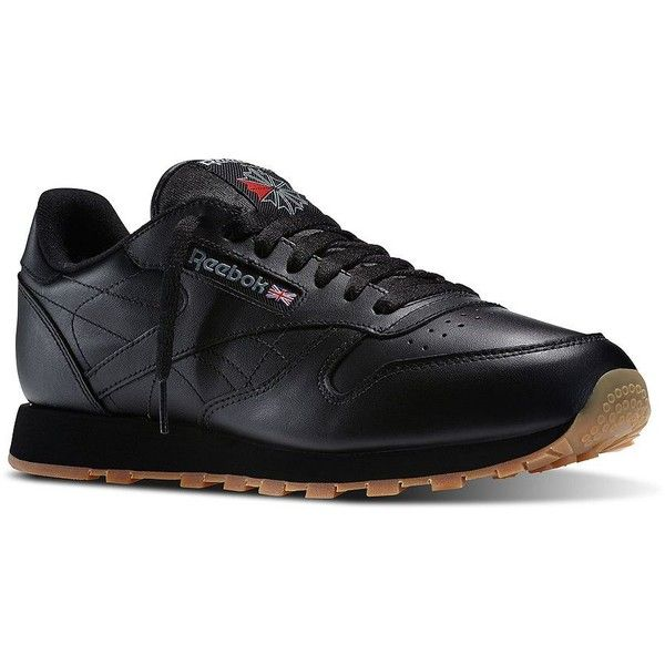 Reebok Classic Leather Sneakers ($75) ❤ liked on Polyvore featuring men's fashion, men's shoes, men's sneakers, black, mens black leather shoes, reebok mens shoes, mens black shoes, mens leather lace up shoes and mens lace up shoes