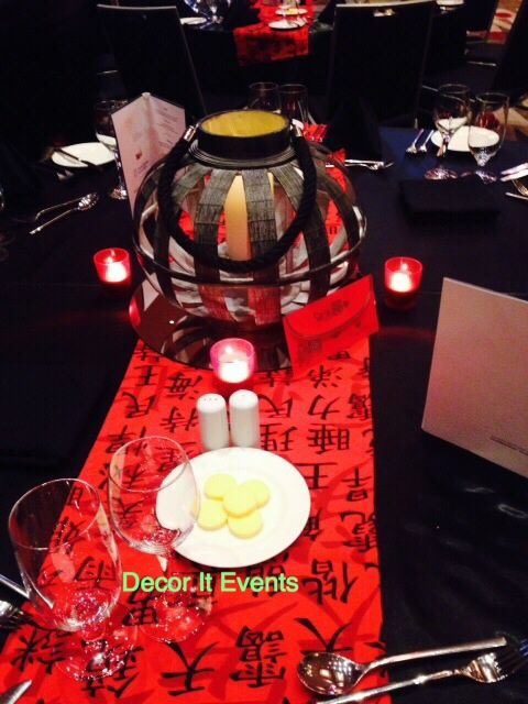 Black Bamboo Red Asian Table Runner #centerpieces #event #decoration #