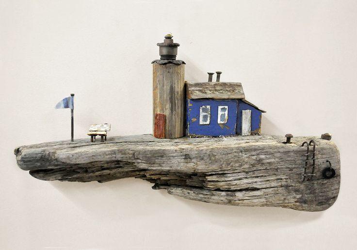 Treibholz Kunst Art Driftwood Meer Sea Ocean Kutter Schiff Boot Leiter Lighthouse Leuchtturm Licht Haus