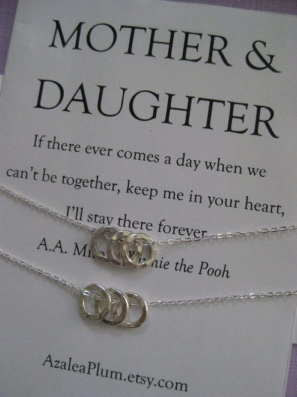 Mother Daughter Jewelry. Mom DAUGHTER. Mommy Necklace. Moms Birthday. Inspirational. Mother of the Bride. Adoption Gift. Bridal Party Gifts. | @giftryapp