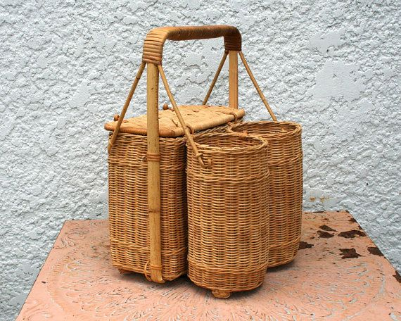 Vintage Wicker Picnic Basket,with Two Wine Bottle Holders on Etsy, $29.50