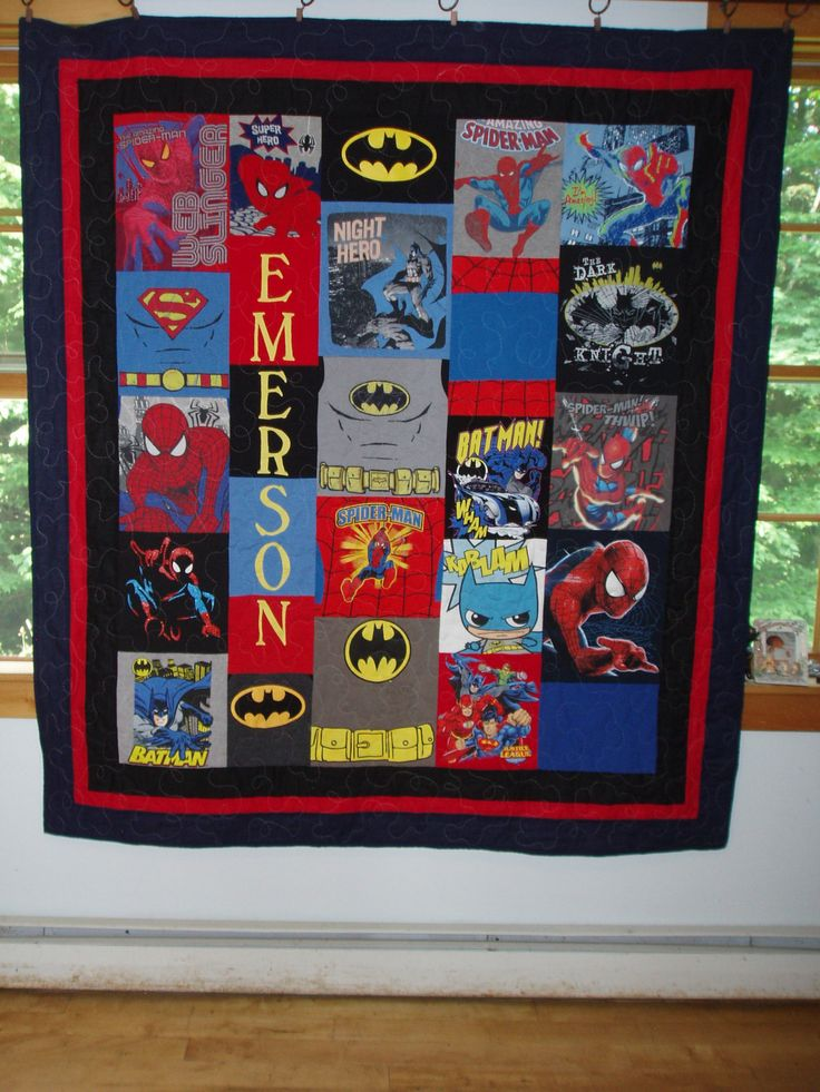 CUSTOM ORDERS for Superhero Quilts made from your child's clothing  by BarbMalmTshirtQuilts on Etsy