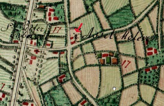 De Asselmolen (met rode pijl aangestipt) op de Ferraris-Kaart van 1771