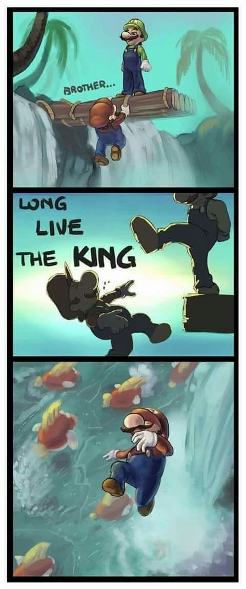 Lion King reference but not nearly as traumatic. Mario falls from heights all the time
