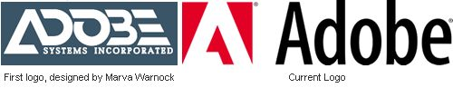 I for one was thrilled to know that, by its first logo, Adobe began as a roller derby team.