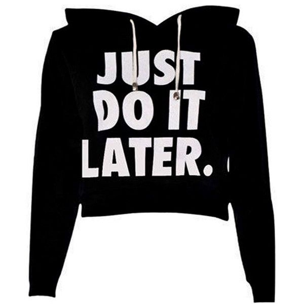 Do It Crop Sweatshirt in Black ($15) ❤ liked on Polyvore featuring tops, hoodies, sweatshirts, black top, women tops, black low tops and sweatshirts hoodies                                                                                                                                                                                 More