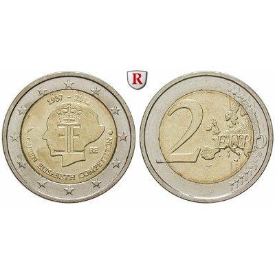 Belgien, Königreich, Albert II., 2 Euro 2012, bfr.: Albert II. 1993-2013. 2 Euro 2012. 75 Jahre Königin Elisabeth Internationaler… #coins