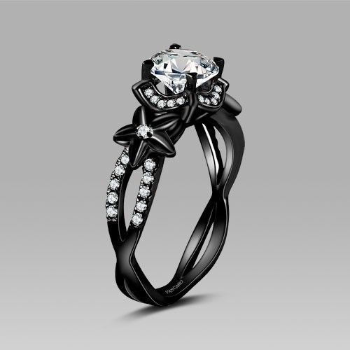 Vancaro Black Flower Style Cubic Zirconia 925 Sterling Silver Black Engagement Ring and Wedding Ring