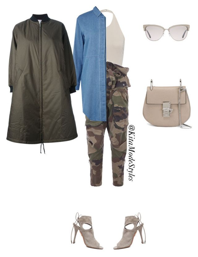 CAMO by kitamode on Polyvore featuring Warehouse, Comme des Garcons, Faith Connexion, Aquazzura, Chloe and Tom Ford
