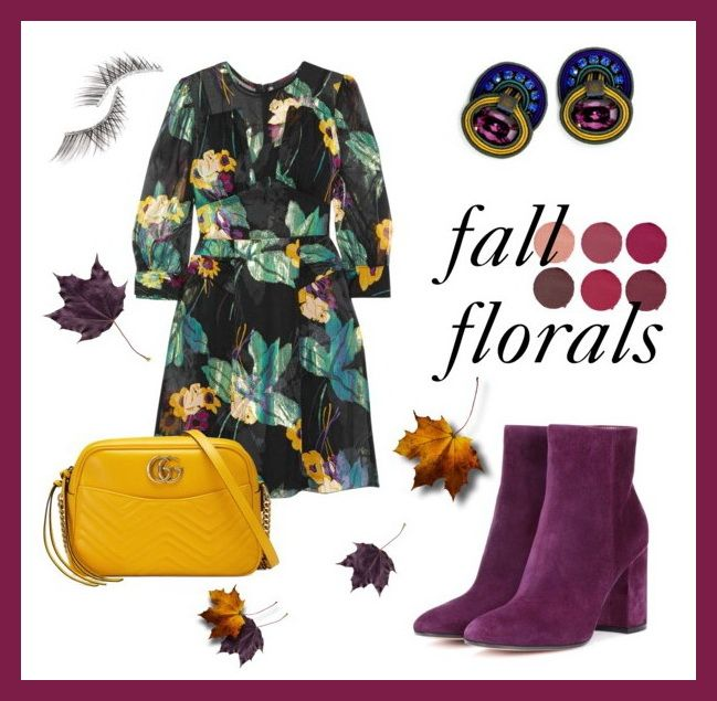 FLORALS are no longer synonymous with the girly fabrics of summer fashion. Embrace fall's dark & bewitching florals and pair them with Dori jewel tones earrings for an added oomph!     #doricsengeri #fallflorals #falltrends #fashion #jeweltones #earrings #cliponearrings #designerearrings #luxeearrings #suedebooties