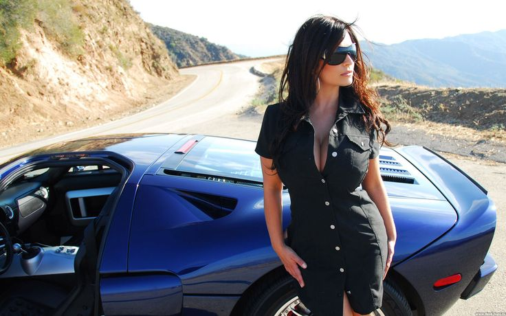 Denise Milani  and blue #Ford GT