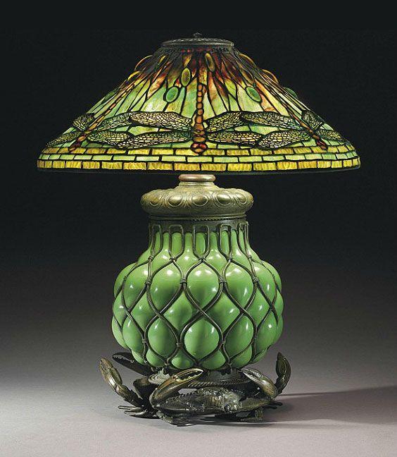 Rare Tiffany Studios Dragonfly lamp on blownout crab base