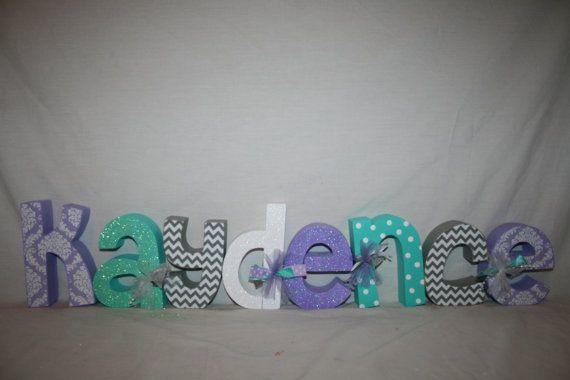Set of 8 Nursery letters Custom wood letters by WoodenWondersShop