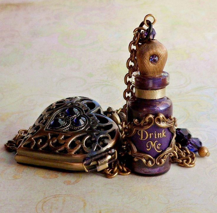drink me bottle | Alice in Wonderland Heart Pocket Watch and Drink Me Bottle Necklace