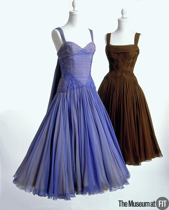 """Evening dress   People and Brands: Designer: Jean Dessès 1904-1970  Medium: Brown silk chiffon, synthetic taffeta, horsehair Date: 1953-1955 Country: France Credit: Gift of Francine Gray Dessès is best known for his intricately draped and pleated silk chiffon evening dresses. The draped neckline and """"basket weave"""" bodice of this dress reflect the designer's affection for the ancient traditions of his native and adopted cultures, Greece and Egypt."""