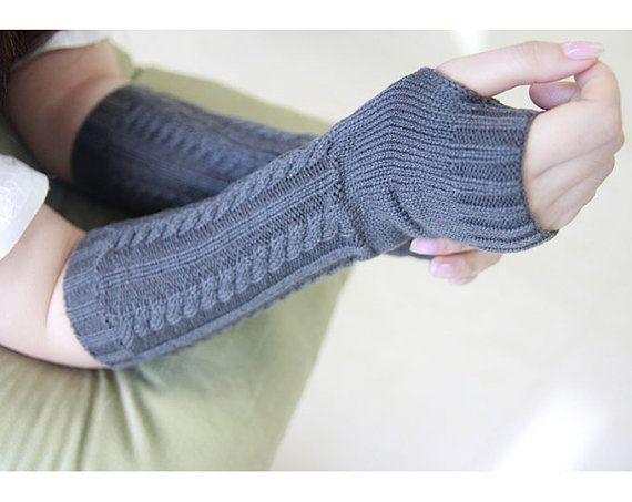 Dark Grey Fingerless Gloves ,Cable Knit, Fall Mittens, Stocking Stuffer, Knit Fingerless Gloves, Arm Warmers, Womens Gloves, Wrist Warmers Thanksgiving