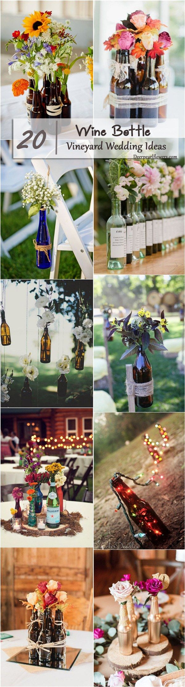 Vineyard Bottle Wedding Decor Ideas / http://www.deerpearlflowers.com/wine-bottle-vineyard-wedding-decor-ideas/
