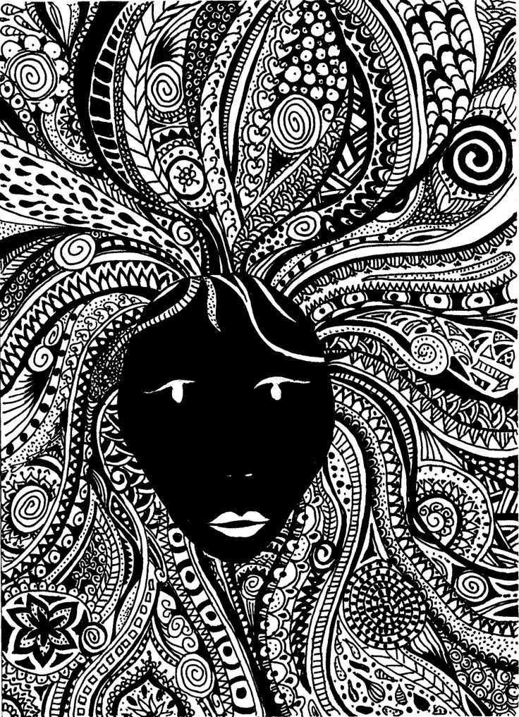 self-drawn zentangle face