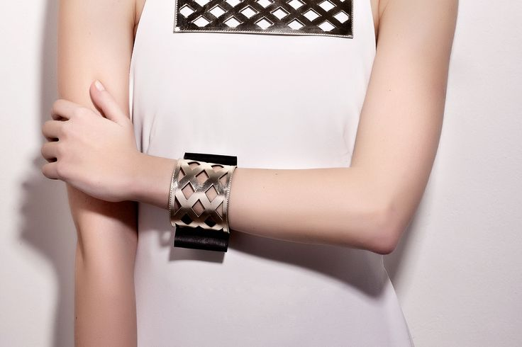 Daniel Havillio leather bracelet. Perforated leather & bow. Leather Jewelry. www.danielhavillio.com
