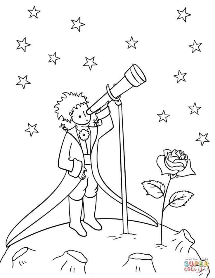 Download Little Prince with Telescope | Super Coloring in 2020 | Little prince tattoo, Prince drawing ...