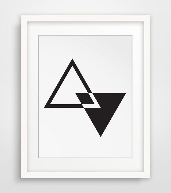MidCentury Wall Art, Geometric Wall Art, Triangle Art, Black and White Decor, Minimalist Art, Modern Art, Contemporary Decor Printable