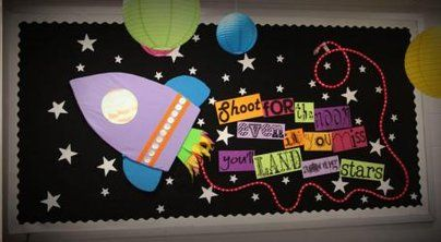 Shoot for the Moon Display, classroom display, class display, Space, planet, planets, moon, stars, rocket, Early Years (EYFS), KS1 & KS2 Primary Resources