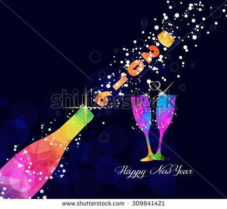 Happy new year 2016 greeting card or poster design with colorful triangle champagne explosion - stock vector