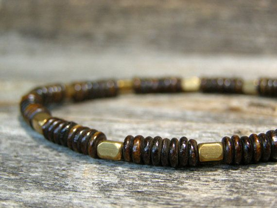 Mens Bracelet  Stretch Bracelet  Bead Bone Bracelet by StoneWearDesigns