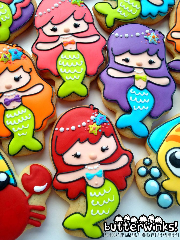 Some adorable mermaid decorated cookies by ButterWinks
