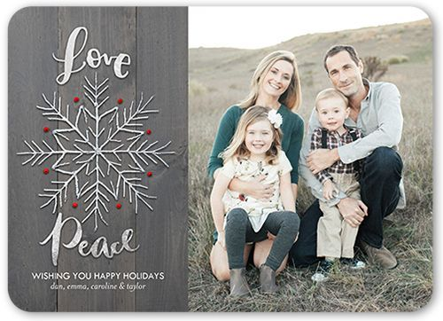 Woodgrain Peace Holiday Card, Rounded Corners, Grey