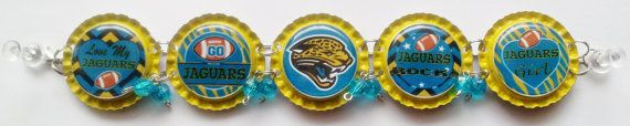 Jacksonville Jaguars Bottle Cap Bracelet w/ by RevampedEcoJewelry