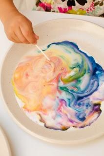 preschool/kinder science experiment- rainbow milk  -Milk  -Dishsoap  -Q-tip  -Food Coloring  -paper plate
