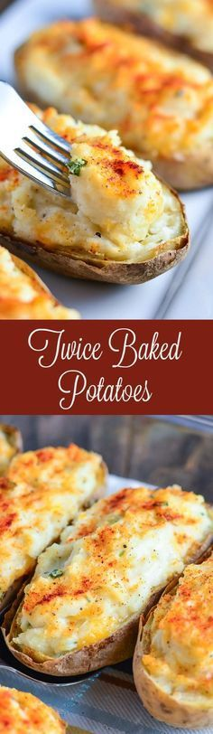 Make Twice Baked Potatoes for a perfectly portioned delicious side dish! (Favorite Pins Baked Potatoes)