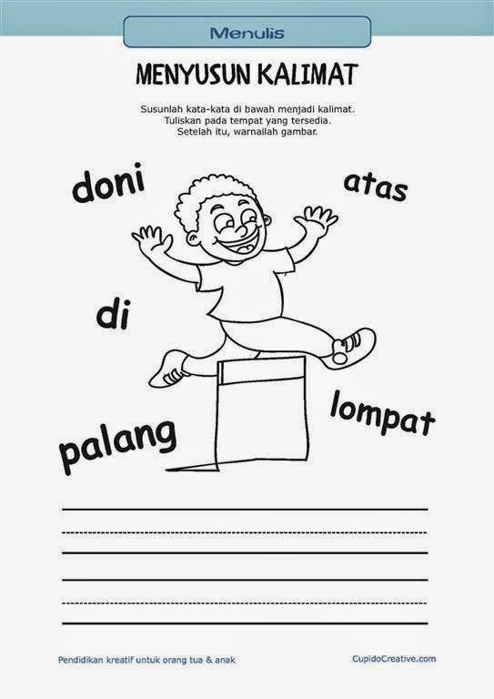 belajar membaca & menulis anak TK/SD, menyusun kata menjadi kalimat & mewarnai gambar orang melompat