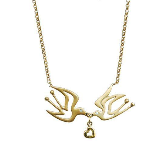 Love Birds, gold plated silver necklace  my-precious.com