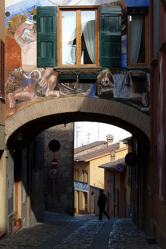 Dozza is a litttle town situated between Bologna and Imola, known for its Rocca (fortress) and colorful murals in the picturesque historic center (borgo). Province of bologna , region Emilia Romagna , italy