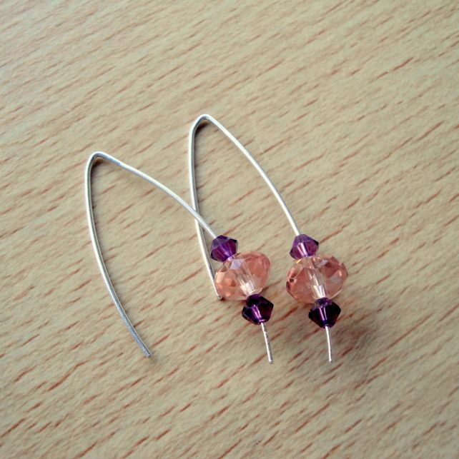 Sterling Silver with Pink & Purple Swarovski Crystals Earrings