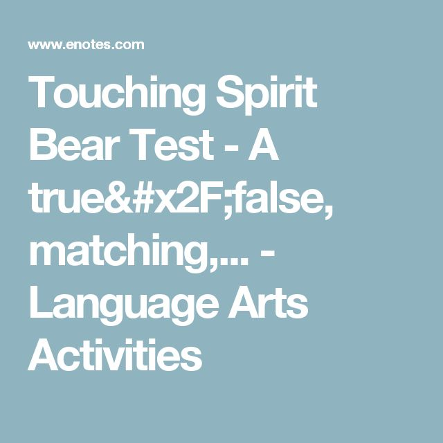 best touching spirit bear resources images  language arts activities touching spirit bear test for grade ninth grade grade elementary classroom