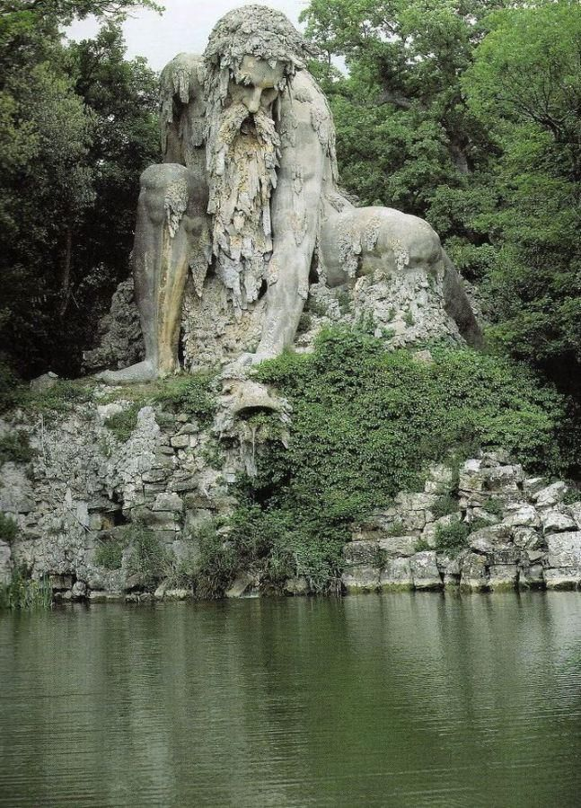 Shrouded within the park of Villa Demidoff (just north of Florence, Italy), there sits a gigantic 16th century sculpture known as Colosso dell'Appennino, or the Appennine Colossus. The brooding structure was first erected in 1580 by Italian sculptor Giambologna. See more stunning pics of it, here: http://www.mymodernmet.com/profiles/blogs/giambologna-colosso-dell-appennino/ Image via Unusual Places.
