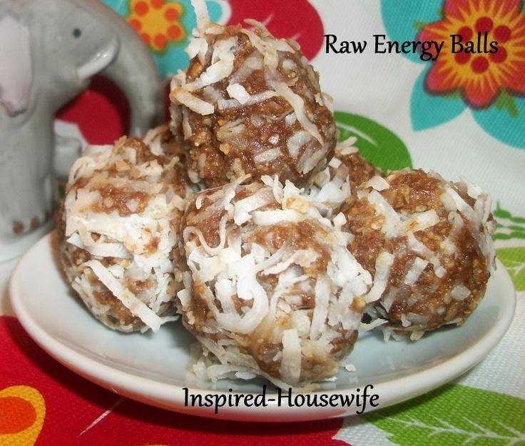 No Bake - Raw Gluten Free Energy Balls, Peanut butter, coconut, dates ...
